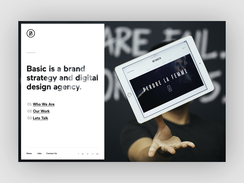 basic redesign homepage concept by sun beom dribbble