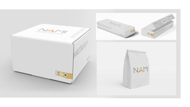 Nami Packaging (Sushi, Snacks, Big Pack) delivery food logo branding typography vector