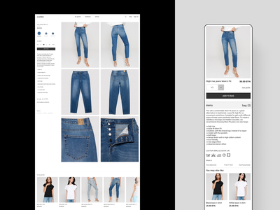 E-commerce product page redesign product page webmobile website webdesign minimalism ecommerce