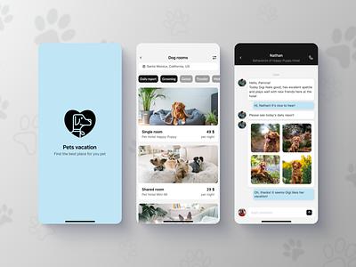 Pets hotel Mobile App iOS dogs pets app pet hotel design uxui designer mobile ui ios ui mobile app design minimal