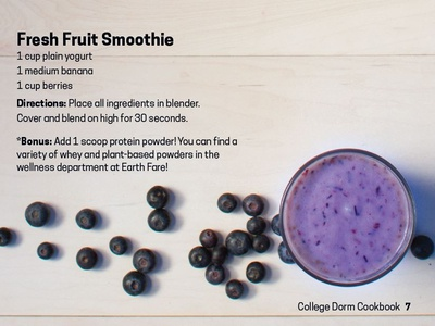 College Cookbook Earth Fare Fruit Smoothie
