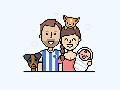 Family portrait people dogs portrait family