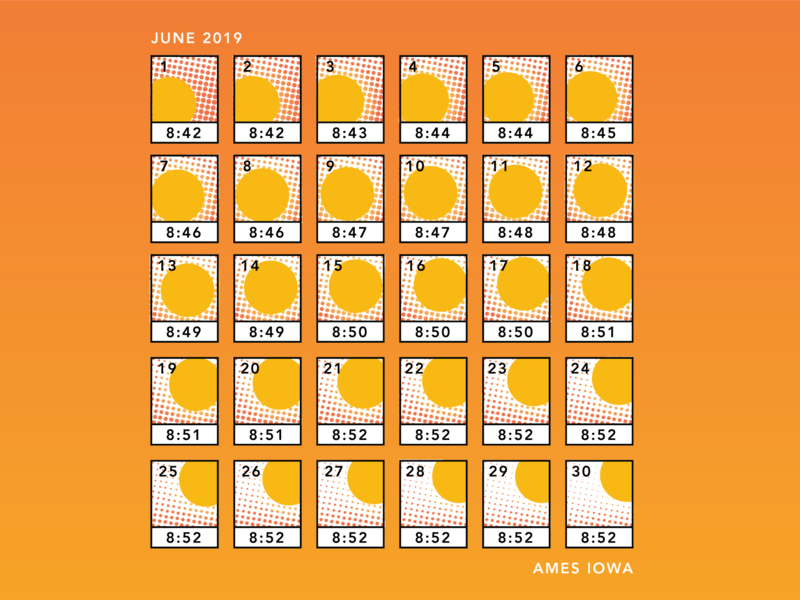 Sunset Calendar graphic design illustration sun sunset halftone vector infographic infograph graphic information design
