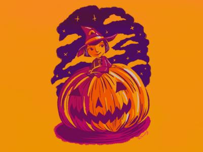 Halloween drawing cartoon procreate illustration digital art witch pumpkin halloween
