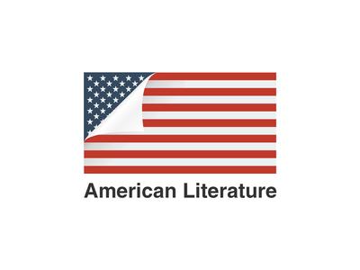 American Literature minimal american flag logo book literature usa america