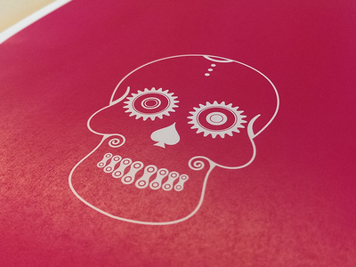Bicycle Candy Skull (WIP) screenprint vector skull bicycle illustration