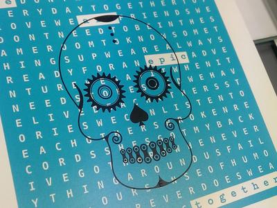 Bike Skull - Screenprint skull screenprinted bicycle bike cog chain screenprint