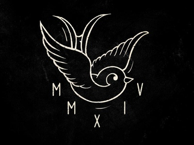 MMXIV  swallow mmxiv black and white tattoo lost type