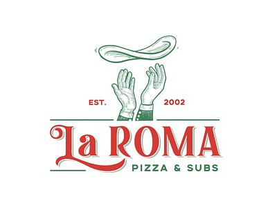 La Roma Pizza and Subs logo design pizza logo pizza temple tx food logo texas brand graphic design ciaburri brand logo design logo branding
