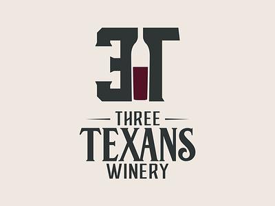 Three Texans Winery and Vineyard rustic brand branding temple tc wine bottle texas winery wine graphic design logo logo design
