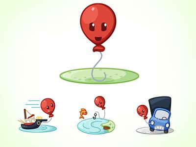 Happy Little Balloon vector illustration balloon boat fishing truck character design character design