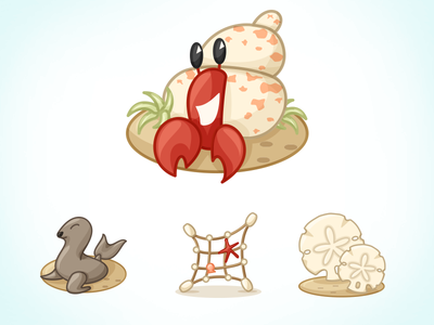Hermann's New House vector illustration seal beach hermit crab fishing net sand dollar character design