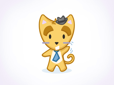 Romeow vector illustration cat hat stickers emoji emoticon tie character design