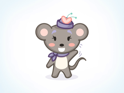Olive - imo.im Character vector illustration mouse hat stickers emoji emoticon scarf wave happy character design