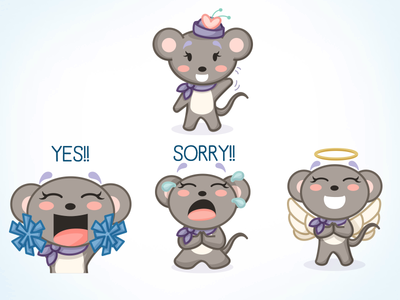 Olive Gets Emotional vector illustration mouse stickers emoji emoticon sorry enthusiastic cheerleader angel character design