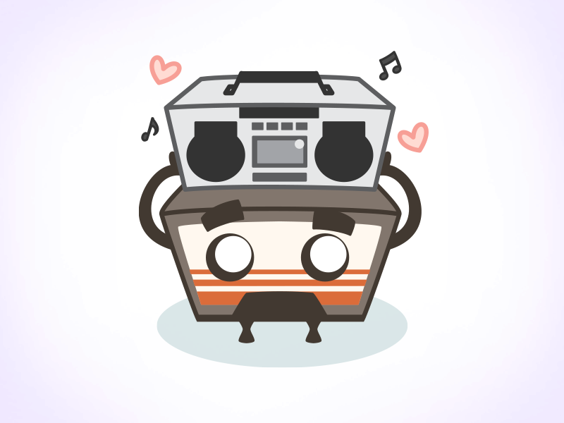 Max Cassette - Sticker Preview illustration stickers boombox love valentine character design cassette tape say anything sticker emoji vector