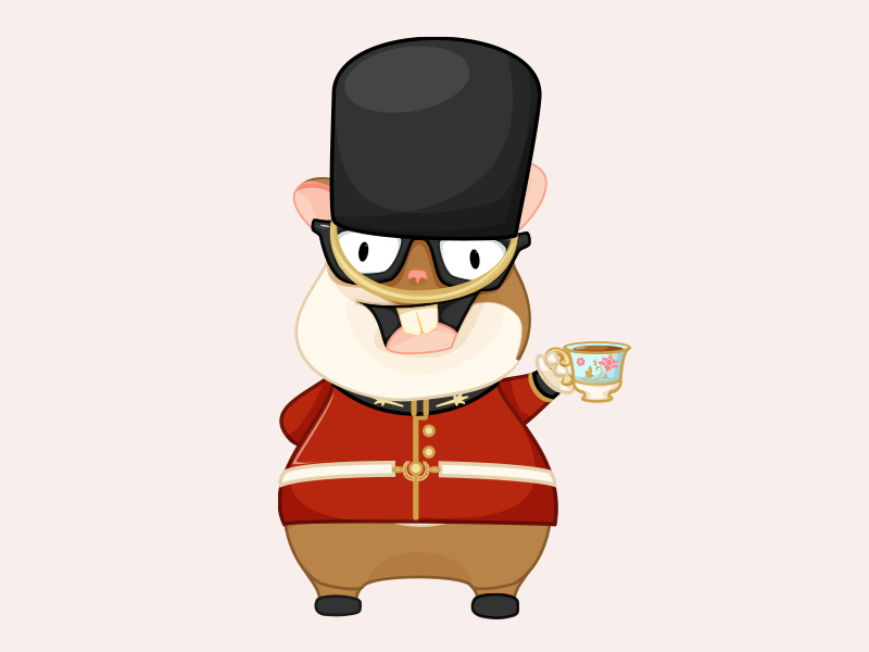 Tomster Across the Pond - Ember London vector illustration character design emberjs hamster mascot london guard teacup