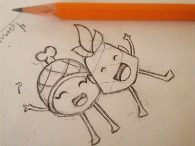 BFFs - Pineapple and Ham sketch illustration character design pineapple ham digital stickers emoji