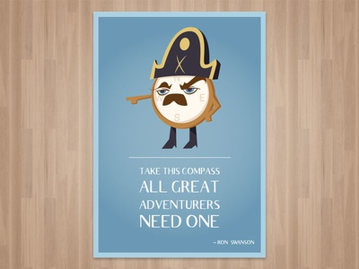 Adventurers - Ron Swanson Inspired Wall Art parks and recreation ron swanson character design wall art parks and rec illustration compass