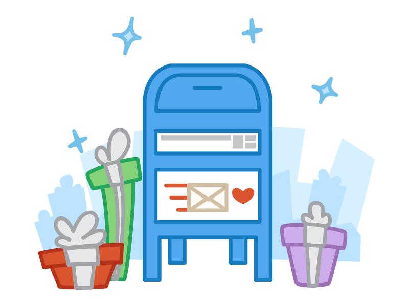 Holiday Mailbox - Product Hunt Secret Santa mail holiday christmas envelope gift mailbox vector illustration