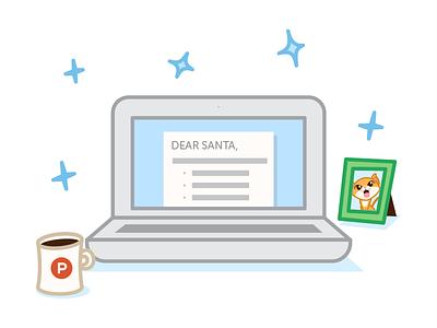 Tech Letter to Santa  - Product Hunt Secret Santa picture frame coffee document computer laptop vector illustration