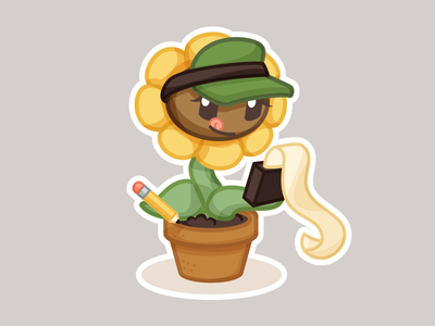 Blossom Hard at Work - Sticker character design pencil work accounting flower sunflower illustration vector