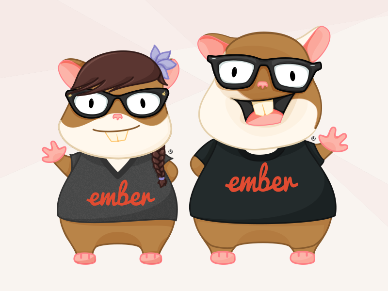 Introducing Zoey - New Addition to Ember.js Family character design hamster emberjs illustration vector