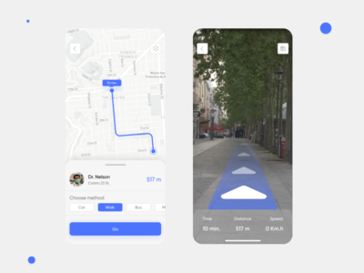 Direction to the doctor direction map ar design ux ui app