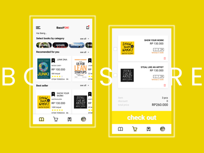 bacayok! store ui design book cart uiux bookstore