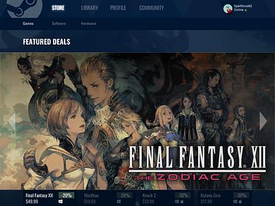 Steam Home Page Redesign visual design ui redesign uidesign ui steam
