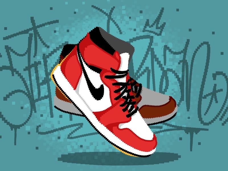 Pixel Jordans pixels pixelbrush brush pixel art nikesb nike offwhite airjordan sneakers jordan pixel procreate design illustration calligraphy lettering