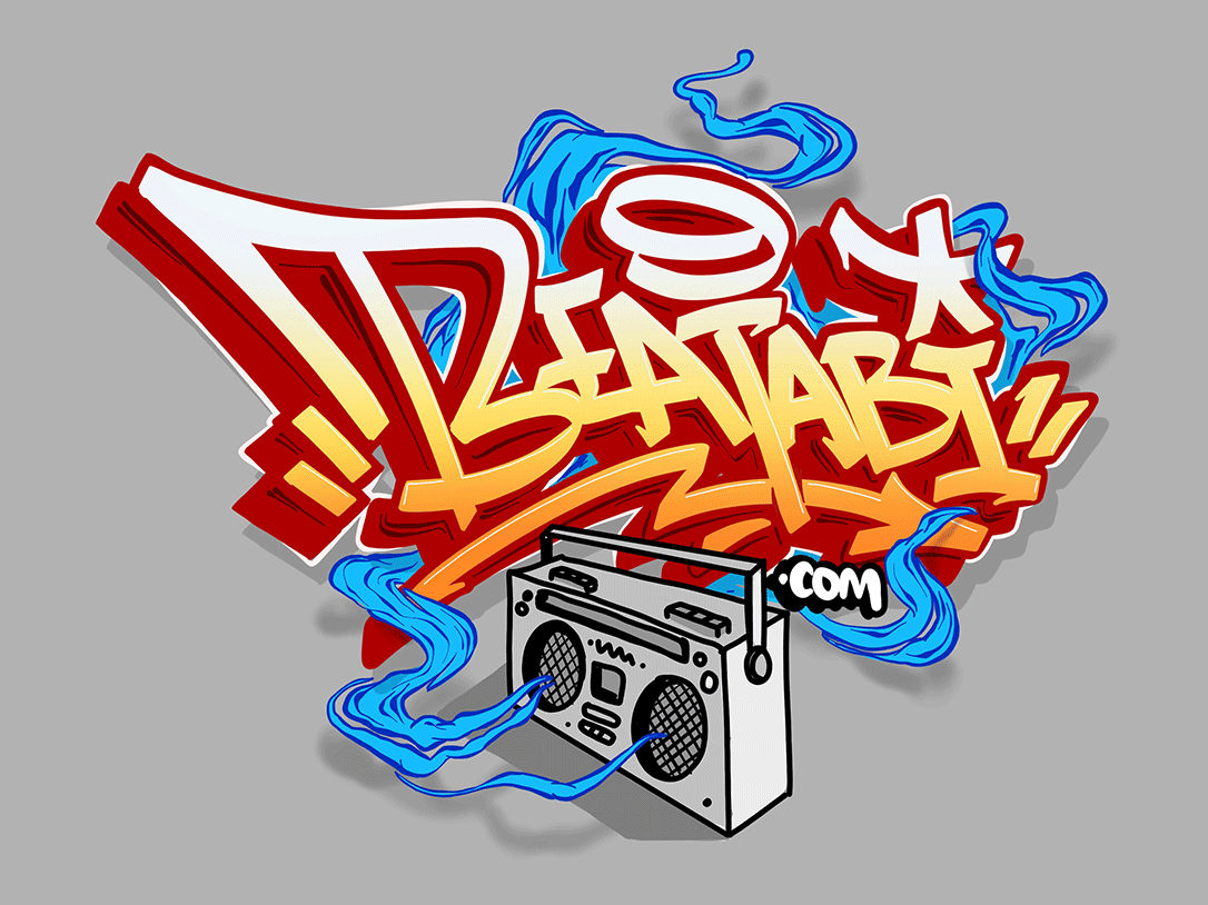 Boombox Hiphop red orange star wave tape boombox instrumental beat hiphop ipadpro font lettering logo procreate typography graffiti lettering