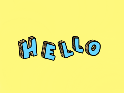 Hello hello dribble hello linework line art bubbly design artoftheday colorful illustration vector drawing typeface yellow blue hand drawn hand lettering handlettering typography adorable 2d
