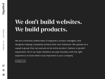 Dignified New Landing Page minimal typography consulting landing portfolio blackandwhite black