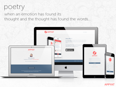 Appyat social networking responsive website pen name followers share write feeds poem ios