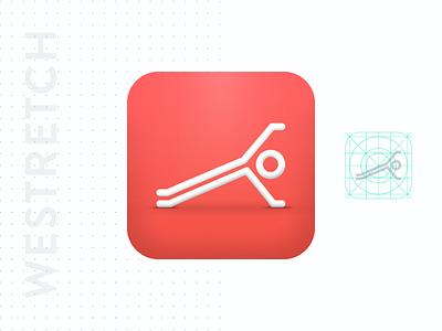 WeStretch App Icon logo goldenratio fitness logo fitness routine illustration branding brand identity stretching app icon design app icon
