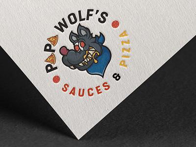 Papa Wolf's Sauce & Pizza cartoon illustration business cartoon wolf cheese sauce logo design pizza logo