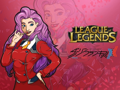 Seraphine x Zero Two cartoon riotgames darling league of legends illustration