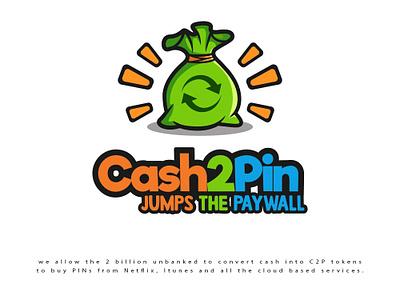 Cash2Pin mobile phone cash illustration logo design logo