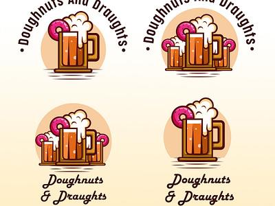 Doughnuts and Draughts doughnuts donut drinks logo design food logodesign logo illustration