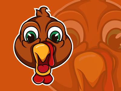 Turkey Shocked Face shocked logo orange logo chicken orange illustration thanksgiving