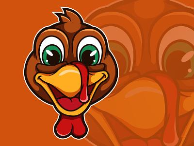 Happy-faced Turkey turkey day cute chicken orange illustration logo happy thanksgiving