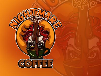 Nightmare Before Coffee halloween design shirt design orange creepy clown scary nightmare coffee halloween illustration