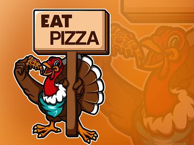 Save a Turkey, Eat Pizza cartoon shirt design orange character thanks giving thanksgiving turkey