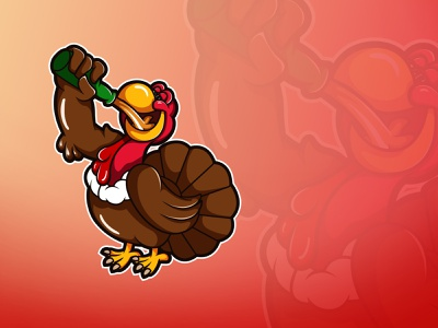 Drunk Turkey on Thanksgiving Day ! cartoon illustration character logo drunk beer thanksgiving day thanksgiving