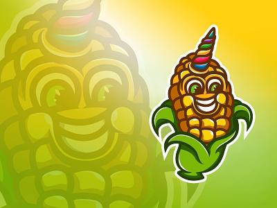 Unique Corn cute fun shirt design yellow green unique logo cartoon character cartoon illustration horns uni unicorns