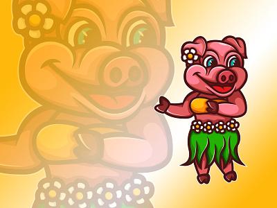 Aloha Pig! hawaiian piglet pink logo shirt layout illustration summer hawaii