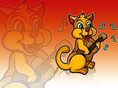 Cat playing Ukelele illustration instrument guitar yellow music cat