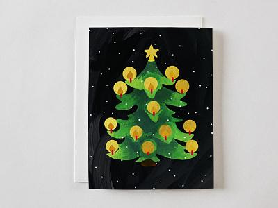 Candlelit Tree gouache greeting card christmas card stationery illustrator christmas tree christmas