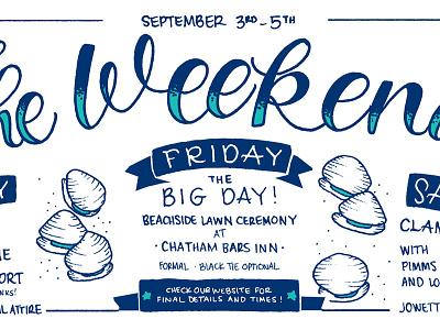 Clambake Weekend lettering design illustration clambake clams clam stationery invitation wedding tattoo nautical
